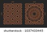 laser cutting set. woodcut... | Shutterstock .eps vector #1037433445