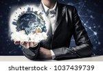 closeup of businessman in suit... | Shutterstock . vector #1037439739
