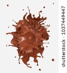 chocolate splash and pouring... | Shutterstock . vector #1037449447