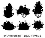 set of silhouettes bush and... | Shutterstock .eps vector #1037449531