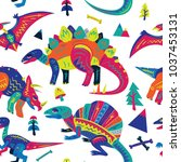 pop and colorful cute dinosaurs ... | Shutterstock .eps vector #1037453131