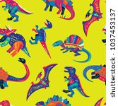 pop and colorful cute dinosaurs ... | Shutterstock .eps vector #1037453137