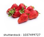 eight strawberry close up | Shutterstock . vector #1037499727
