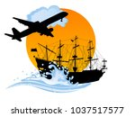 black silhouette of the pirate... | Shutterstock .eps vector #1037517577