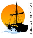 black silhouette of the pirate... | Shutterstock .eps vector #1037518564