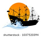 black silhouette of the pirate... | Shutterstock .eps vector #1037520394