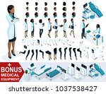 isometric woman doctor african... | Shutterstock .eps vector #1037538427