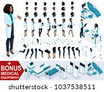 isometric woman doctor african... | Shutterstock .eps vector #1037538511