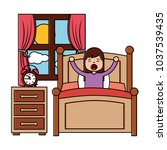 wake up morning the young girl... | Shutterstock .eps vector #1037539435