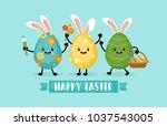 easter holiday banner design... | Shutterstock .eps vector #1037543005