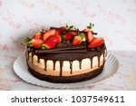 this triple chocolate mousse... | Shutterstock . vector #1037549611
