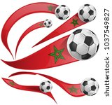 marocco flag set with soccer...   Shutterstock .eps vector #1037549827
