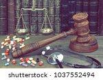 judge gavel  stethoscope  scale ... | Shutterstock . vector #1037552494
