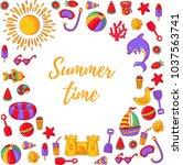 summer beach vacation cute... | Shutterstock .eps vector #1037563741
