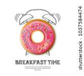 tasty pink glazed donut ... | Shutterstock .eps vector #1037584474