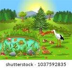 cartoon illustration of wild... | Shutterstock .eps vector #1037592835