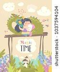 cute cartoon dragon  unicorn...   Shutterstock .eps vector #1037594104