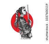 masked samurai girl  hatching... | Shutterstock .eps vector #1037600119