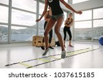 woman training on agility...   Shutterstock . vector #1037615185