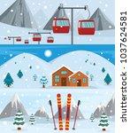 resort hotel winter banner... | Shutterstock .eps vector #1037624581