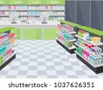 modern interior pharmacy and... | Shutterstock .eps vector #1037626351