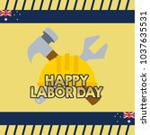 australian labor day... | Shutterstock .eps vector #1037635531