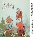 set with cute deers | Shutterstock .eps vector #1037638507