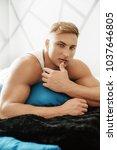 young sexy muscular man   Shutterstock . vector #1037646805