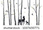 birch tree with deer and birds...   Shutterstock . vector #1037650771