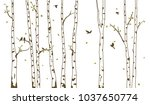 birch tree with deer and birds... | Shutterstock .eps vector #1037650774