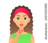 cartoon beautiful woman saying... | Shutterstock .eps vector #1037653585