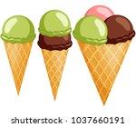 colorful ice cream cone 1 2 3... | Shutterstock .eps vector #1037660191