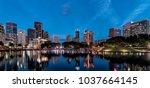 klcc district in kuala lumpur ... | Shutterstock . vector #1037664145