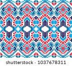 ikat geometric folklore... | Shutterstock .eps vector #1037678311