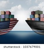 american trade war tariffs in... | Shutterstock . vector #1037679001