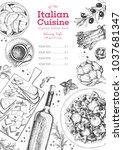 italian cuisine top view frame. ... | Shutterstock .eps vector #1037681347