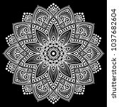 mandala pattern white good mood | Shutterstock .eps vector #1037682604