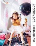 beautiful little girl... | Shutterstock . vector #1037683207