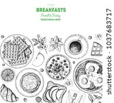 breakfast top view illustration.... | Shutterstock .eps vector #1037683717