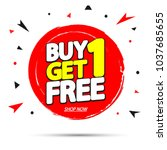 buy 1 get 1 free  sale tag ... | Shutterstock .eps vector #1037685655