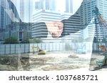 double exposure handshake... | Shutterstock . vector #1037685721