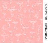 pattern of mushrooms on pink... | Shutterstock .eps vector #1037687071