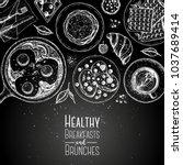 breakfast top view illustration.... | Shutterstock .eps vector #1037689414