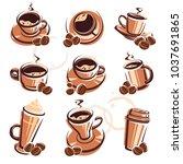 coffee set. vector | Shutterstock .eps vector #1037691865