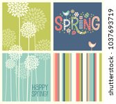 set of retro spring designs.... | Shutterstock .eps vector #1037693719
