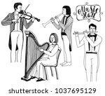 illustration of musicians.... | Shutterstock . vector #1037695129