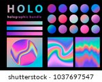 holographic grdient and... | Shutterstock .eps vector #1037697547
