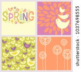 set of retro spring designs.... | Shutterstock .eps vector #1037698555