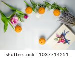 coffee cup and spring flowers... | Shutterstock . vector #1037714251