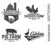 chicken farm badge or label.... | Shutterstock .eps vector #1037721961